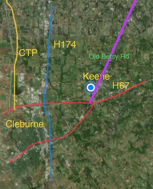 Keene - Cleburne roads